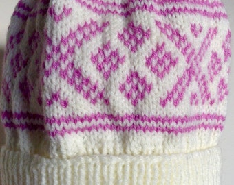 Hand knitted adult Nordic hat