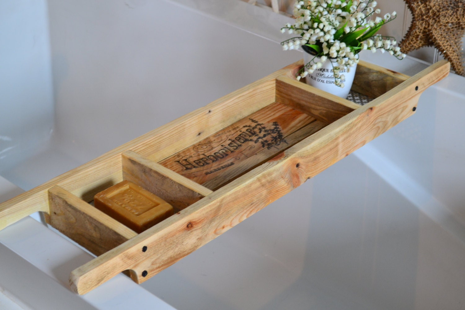 Bath Tray/Made to Order/Recycled Pallet by SharonMfortheHome