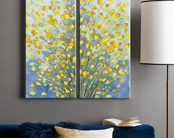 Flower painting, Palette Knife, Acrylic Abstract Floral art, Contemporary Landscape, Impasto Texture painting, Modern Wall art Home decor