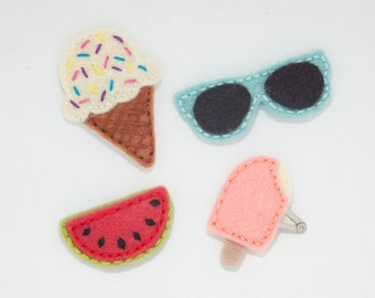 Summer Hair clip set size Mini: Ice cream cone, popsicle, watermelon, sunglasses. Toddler hair clip, child hair clip, Wool felt clip