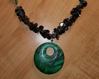Green Round Glass Beads - Large Glass Green Pendant - Black Metal Beads - Textured Necklace - Black & Green - Large Green Pendant - Necklace