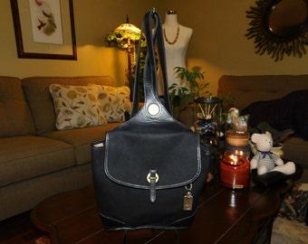 DOONEY & BOURKE~Black Canvas Leather Backpack Sling BagPurse