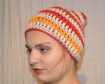 """Bonnet """"Elfin"""" - Orange - red - Bordeaux - light brown"""