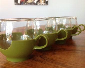 Pyrex coffee tea cups - mid century 1960s - glass cups - green plastic - retro cups