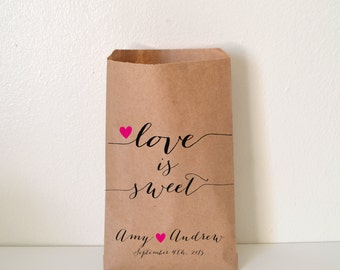 Wedding Favor Bags, Love is Sweet Candy Buffet Bags, Favor Bags, Personalized Wedding Favor Bags, Treat Bags, Custom Favor Bags, WNW013