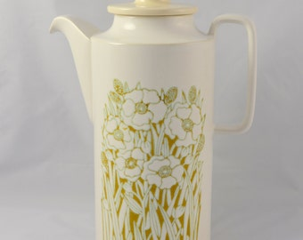 Hornsea Fleur coffee pot, white and muted green/brown, with lid, from the 1970s