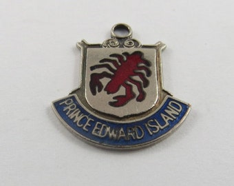 Enameled Lobster Prince Edward Island Canada  Sterling Silver Charm or Pendant.