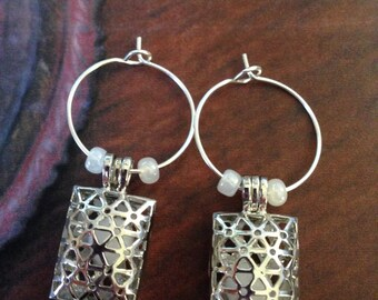 Silver Rectangle Diffuser Locket Earrings