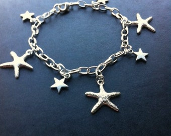 Silver Plated Star Fish Charm Bracelet