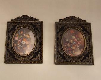 Victorian Frames with Velvet background, 2 Ornate Vintage Frames, Victorian Style Frames, Cottage Chic Decor, Shabby Chic Decor, Wall Decor