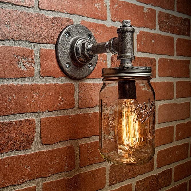 Industrial Lighting Lighting Mason Jar Light Steampunk Lighting Industrial Light