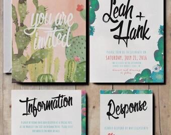 Floral Watercolour Wedding Invitations, Cactus Wedding Invites, Desert Wedding Invitations, Rustic Pastel Wedding Invitations, Calligraphy