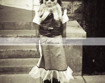 Instant Download Printable Art - Creepy Scary Little Girl Halloween Costume Vintage Antique Photograph - Paper Crafts Altered Art Scrapbook