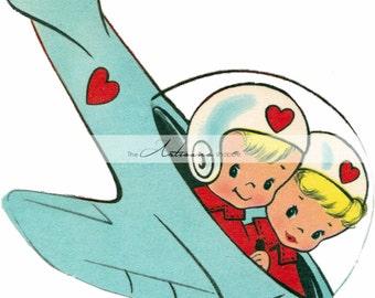 Printable Art Instant Download - Vintage Valentine Children in Plane - Paper Crafts Scrapbooking Altered Art - Vintage Retro Valentine Card