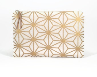 Bridesmaid clutch, Gold, Bridal clutch, Clutch zipper bag, Zipper clutch, Maid of honour gift, Bridesmaid gift idea, Travel organiser