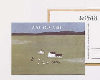 find your place. postcard