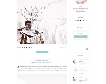 Responsive Blogger Template - Premade blogger Template - Clean Minimalist Design -  watercolor pink Blog - Fashion Blog - Sleek - Blogspot