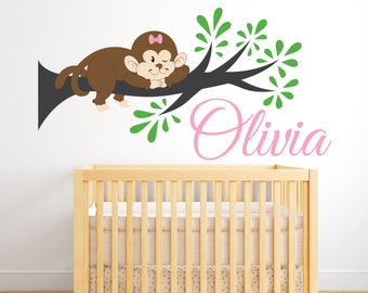 Monkey Bedroom Decor Girl Monkey Decal  Etsy