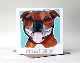 Happy Staffie Birthday! Card Staffordshire Bull Terrier - Fawn / Red / Turquoise