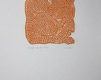 Cat linoprint orange
