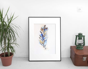 """Art, Feather Drawing, Watercolor Pen Painting, Original Artwork, Blue and Brown Feather Art No. 1, 6 x 8"""""""