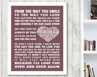 Nathan Sykes Over and Over Again Music Love Song Lyrics Word Art Print Poster Heart Design Wall Decor Framed Picture Gift Free UK Postage