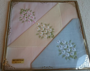 Beautiful 100% Pure Cotton Swiss Boxed Handkerchiefs - Vintage Unused Stock from the 1970s