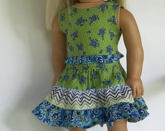AG Doll 2 Piece Skirt Top Green Blue Floral Ruffled Skirt 18 Inch Doll