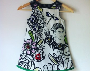 frida kahlo dress, pinafore dress, frida, art, dresses, girls, toddler, mexican, day of the dead, halloween, jumper, handmade, artistic
