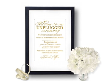 Unplugged ceremony sign, Unplugged Wedding, no cell phone sign, Gold Wedding, Ceremony sign, wedding ceremony