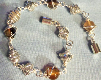 Wire Wrapped and Caged Bead Bracelet, Natural Gemstone bracelet, Gemstone jewelry,