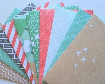 C6 Christmas Envelopes, Set of 10, Red, Green, Brown, White, Black, Stationery