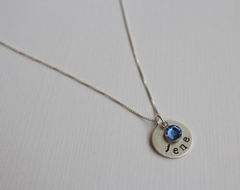 Hand stamped sterling silver name necklace with Swarovski crystal channel charm birthstone