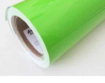 "12x12"" Sheet LIME Green Adhesive Vinyl, Enduragloss Permanent Outdoor Sign Vinyl, Oracal 651 Equivalent"