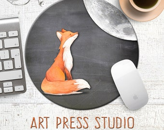 Fox Mousepad, Fox and Moon Mousepad, Chalkboard Fox mousepad, Cute Fox Mouse Pad, Desk Accessories, Cute Gift, Office Gift, Mouse Mat