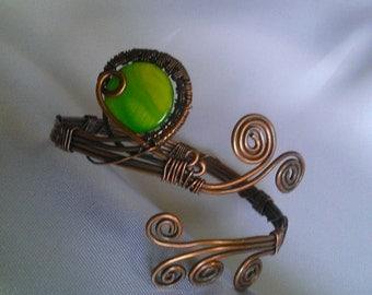 copper wire bracelet , wrapped wire bracelet , handmade wire wrapped bracelet , handmade jewelry
