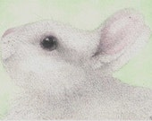 ACEO Happy Bunny white rabbit ATC