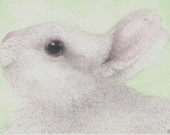 ACEO Happy Bunny white rabbit ATC
