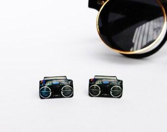 Retro radio studs / Retro earrings / Radio earrings / Music earrings / Music lover studs / Radio jewelry / Gift for her