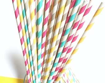 LONG Striped Paper Straws- 50 Aqua Blue, Dark Pink, Light Gray or Yellow-Orange Soda Party Straw - SUPER Long for Tall Soda Bottles