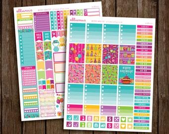 Birthday Weekly Kit | PRINTABLE pdf jpg | Birthday Stickers | Birthday Kit | Birthday Planner Stickers | fits Erin Condren or Recollections