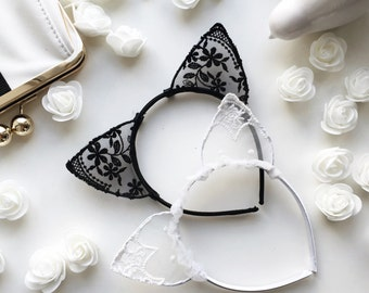 White lace cat ear, Black cat ear, White cat ear, Lace ear, Cat ear, Bachelorette tiara ,Ear Headband, Bachelorette, Kitten ear, White ears