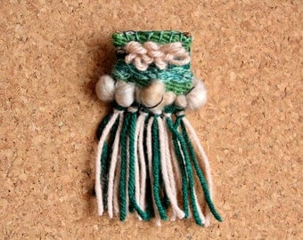 Green and Brown Woven Pin