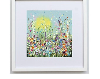 Beautiful Framed Art Print. 30 x 30 cm white frame with Abstract Floral Print 'Spring in Bloom from my Original Painting