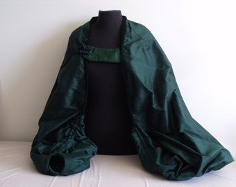 Green Silk and Silk  Velvet Evening Coat