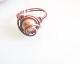 Oxidised copper swirl ring