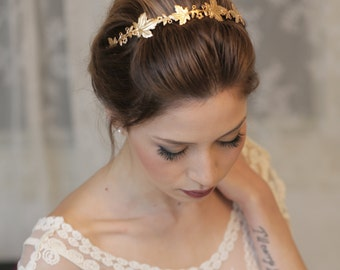 Wedding Headpiece, Bridal Accessory, Bridal Headpiece, Woodland Headband, Gold Headband, Gold Crown, Woodland Wedding, Grecian Leaf Crown