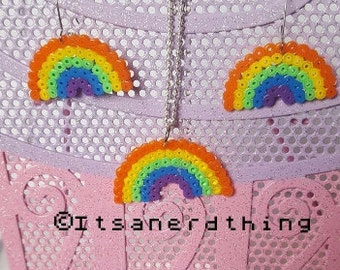 Rainbow earrings and necklace set