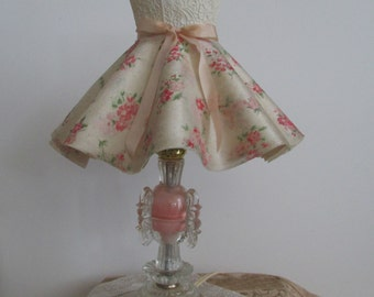 Darling Vintage Lamp Shade, Floral Bouquet, Pink, Boudoir Lamp, Shabby, Paris, Cottage
