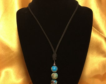 Faux leather Y necklace with bead drops